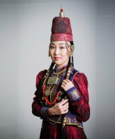 Traditional jewelry decoration of a Buryat woman