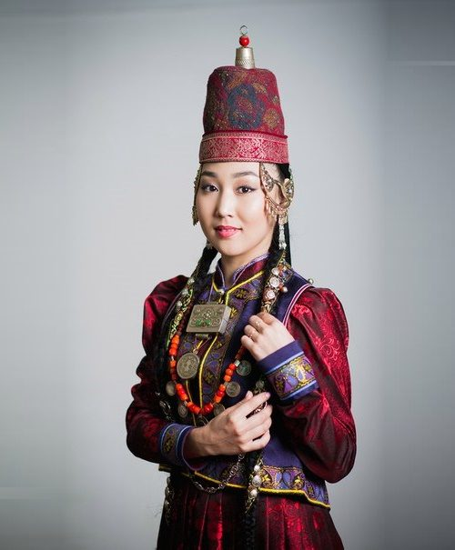 Traditional jewelry decoration of a Buryat woman