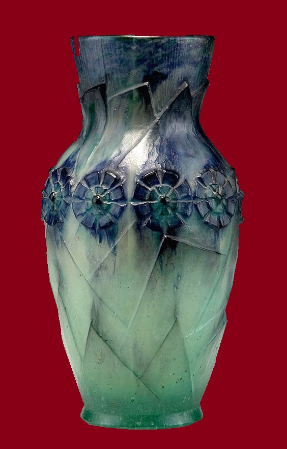 Cast glass vase
