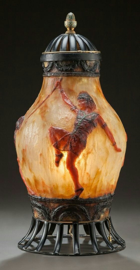 Egyptian motif vase-lamp shade
