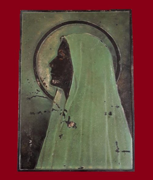 Virgin Mary, metal plague, Art Deco, France