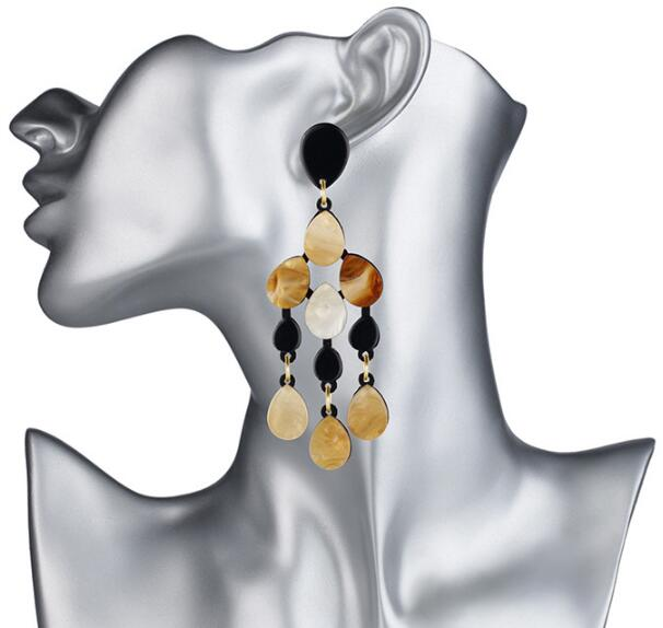 Abstract Acrylic Water Drop Big Stud Earrings