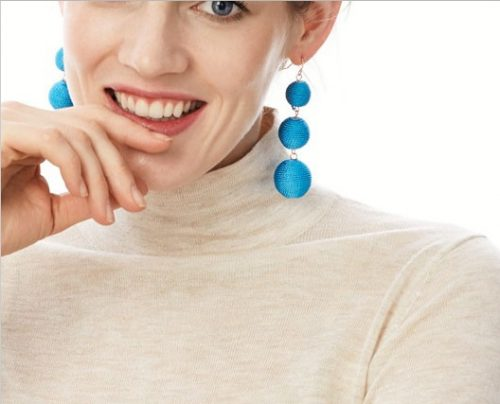 Blue balls lomg earrings. Meaning and significance of wearing earrings