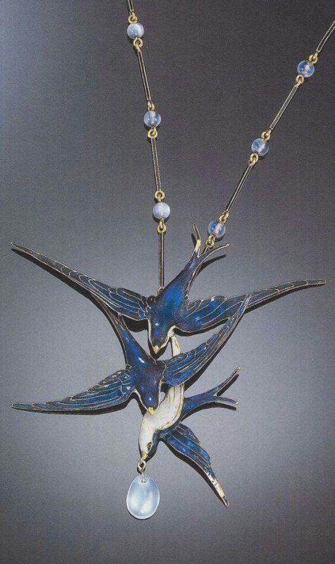 Blue swallows pendant-necklace