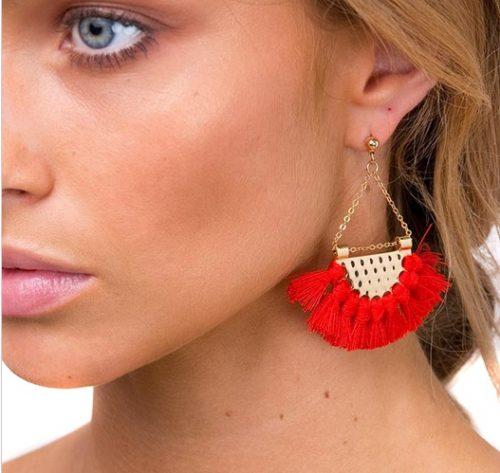 Bohemia tassel ethnic style earrings