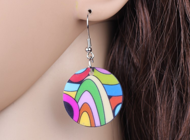 Bonsny drop multicolour circle earrings acrylic dangle