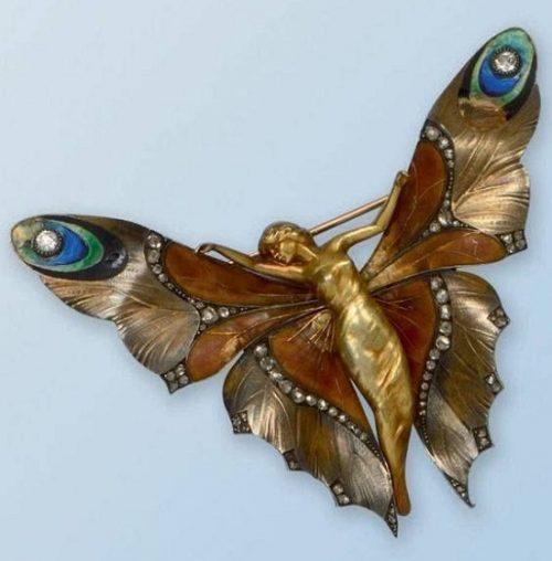 Lucien Gaillard brooch. Gold, enamel, diamonds