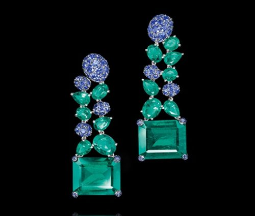 Sapphire, emerald and diamond earrings by Grisgono