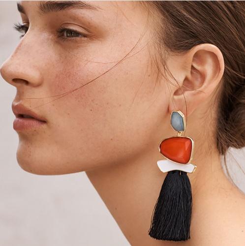Semi-precious long fringe hanging colorful earring
