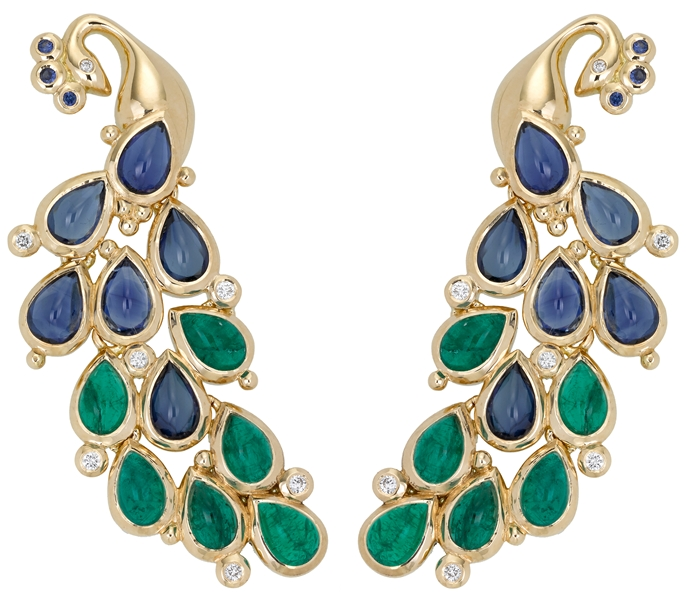 Temple St. Clair earrings - emeralds, sapphires, diamantes