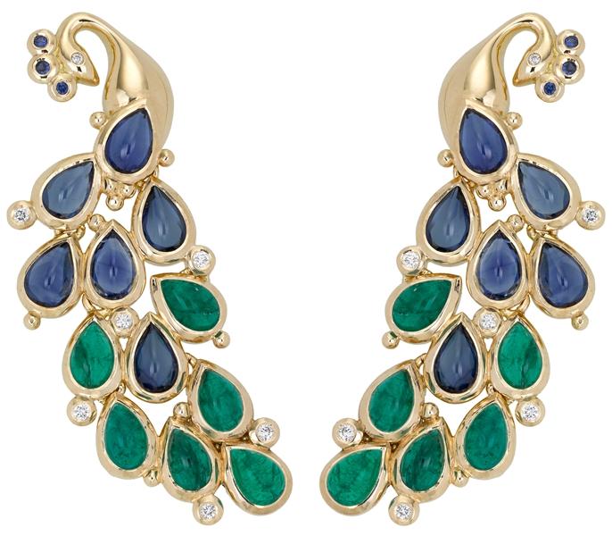 Temple St. Clair earrings - emeralds, sapphires, diamantes