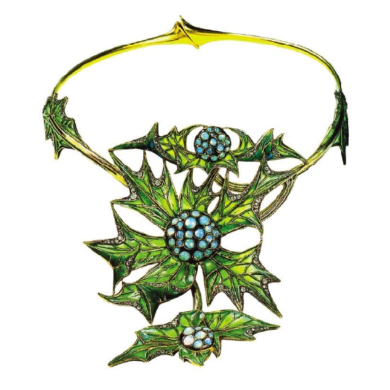 Thistle necklace. 1903. Gold, opals, enamel