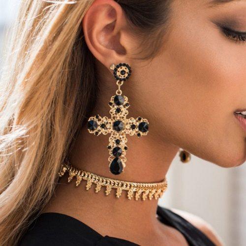 Vintage Boho Crystal Cross Hanging Earrings. Baroque Czech Jewelry Brincos 2017