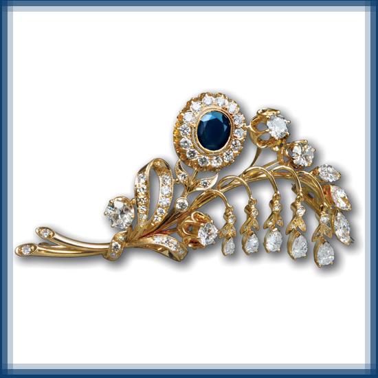 Bluebell brooch. Gold, diamonds, sapphires