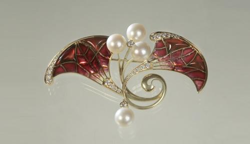 Brooch 'Orchid'. Gold, diamonds, pearls, enamel
