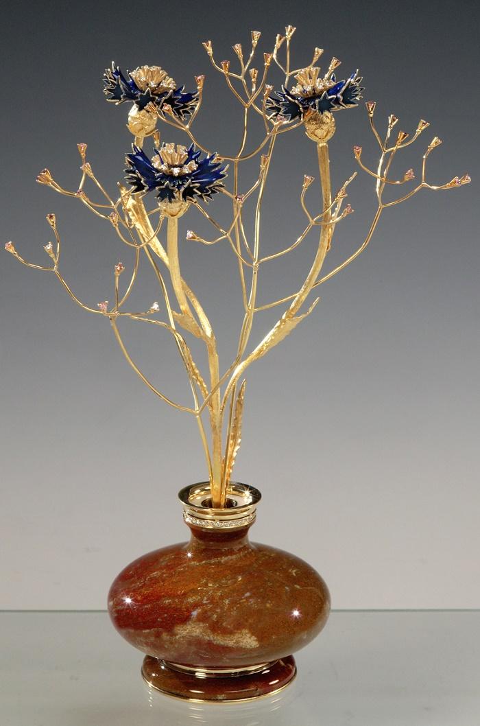 Cornflowers. Gold, silver, diamonds, jasper, enamel