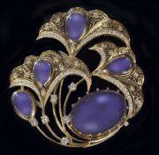 Firebird. Brooch. Gold, diamonds, tanzanite