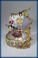 First day of spring. Table clock. Gold, diamonds, agate, enamel