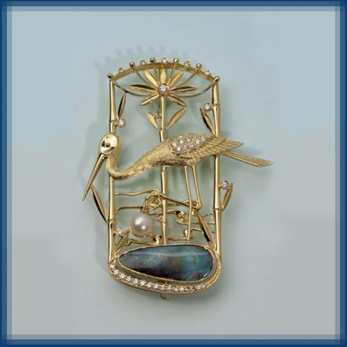 Heron. Gold, diamonds, opal, enamel