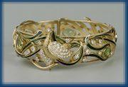 Peacock bracelet. Gold, diamonds, enamel, peridots