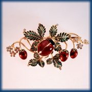 Summer time. Brooch with strawberries and a beatle. Gold, diamonds, ruby, pearl, enamel
