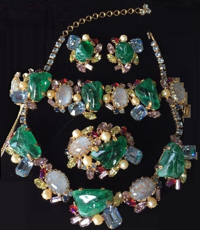 A rare and breathtakingly beautiful vintage necklace, bracelet, brooch pin and earrings grand parure by designer Alice Caviness
