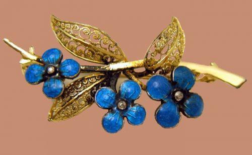 Blue Enamel Forget Me Not Flowers