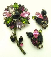 Flower Brooch and Earrings. 18k Gold plated amethyst, pink, purple, and green marquis as petals
