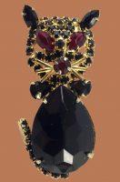Goldtone with rhinestones Black Cat brooch