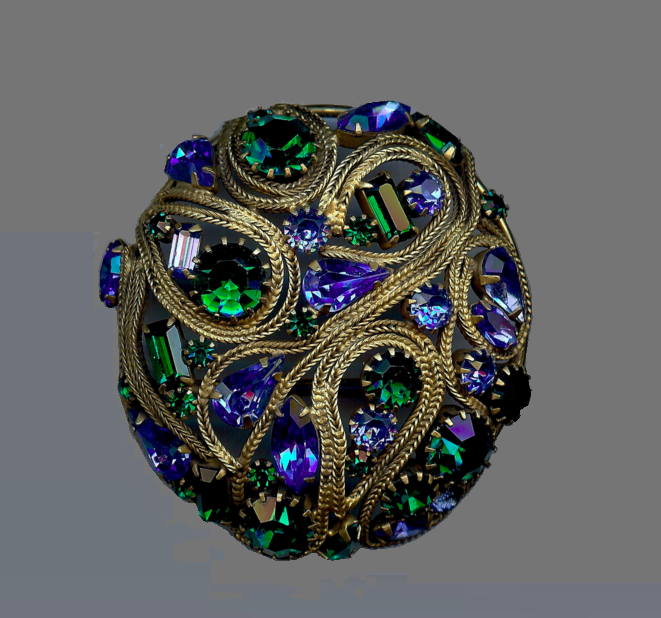 Green and blue rhinestone round brooch