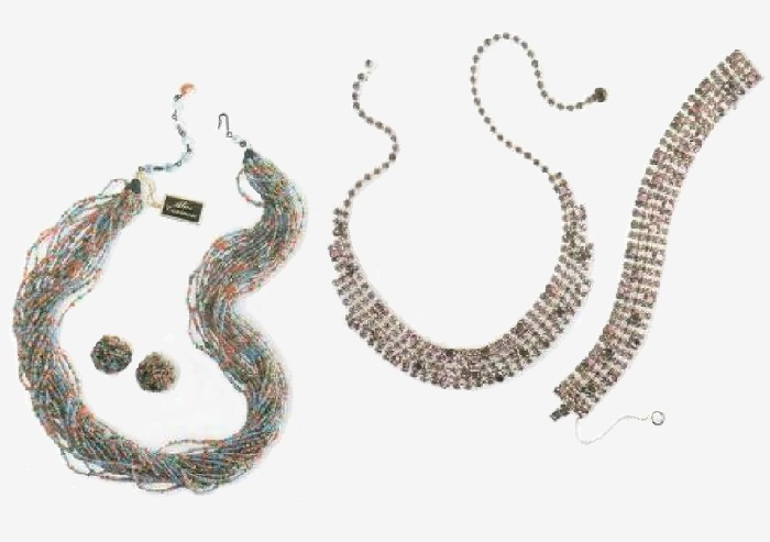 Necklace of threads and earrings - multi-colored beads, pearls. 1970s (left). Necklace and bracelet - rhodium-plated metal, lavender, pink and black rock crystal. 1960s