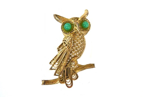 Owl gold plated brooch, silver, filigree, with eyes of green Peking glass cabochons. 4.7 cm