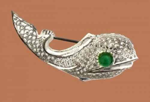 Sterling Silver Germany Rhinestone Whale brooch