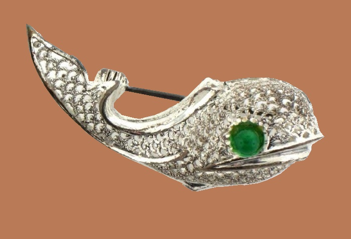 Sterling Silver Germany Rhinestone Whale brooch