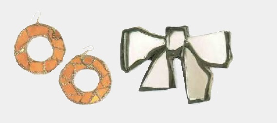 Orange glass earrings. 1990's. width 7 cm (left). Bow brooch, translucent mirror glass, in a frame of resin, finished with glitter. The end of the 1970s