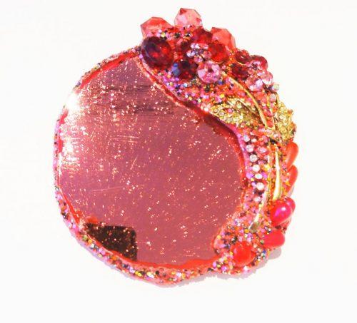 Pink glass brooch