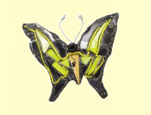 Swallowtail Brooch consists of 23 pieces of cut glass - 7 neon yellow, 15 black. 2002