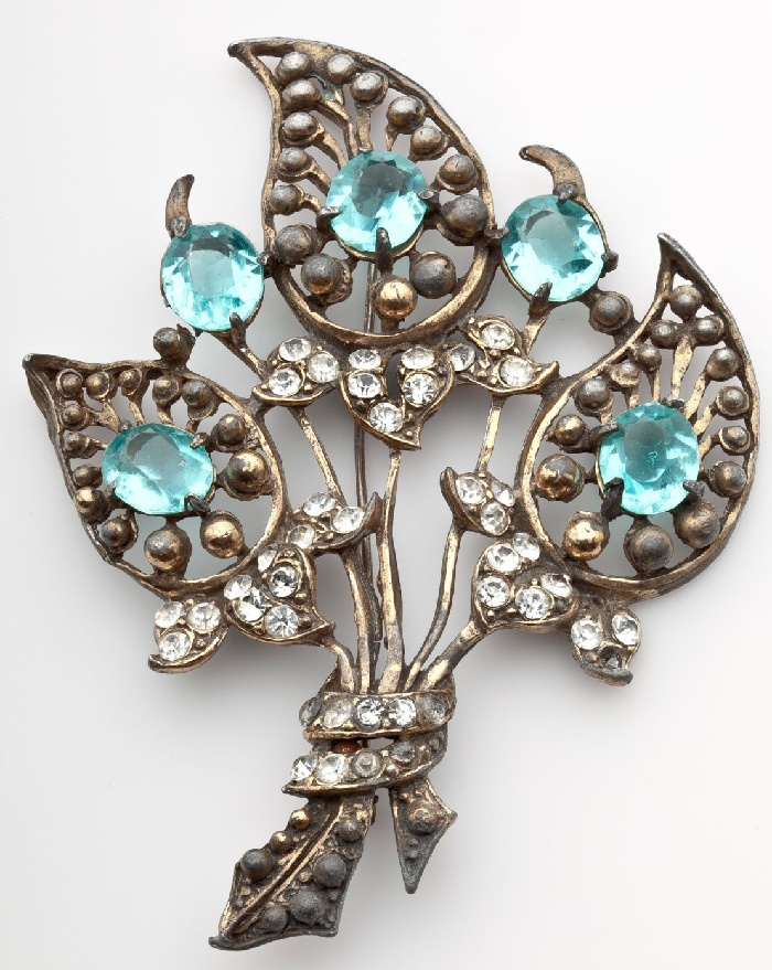 Aqua Blue Flower Brooch