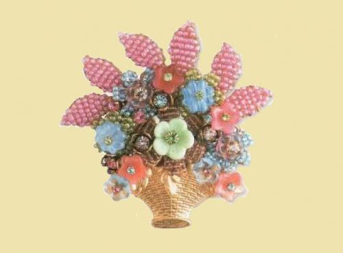 Basket of flowers. 1980s brooch. Estimated price $200. 7 cm