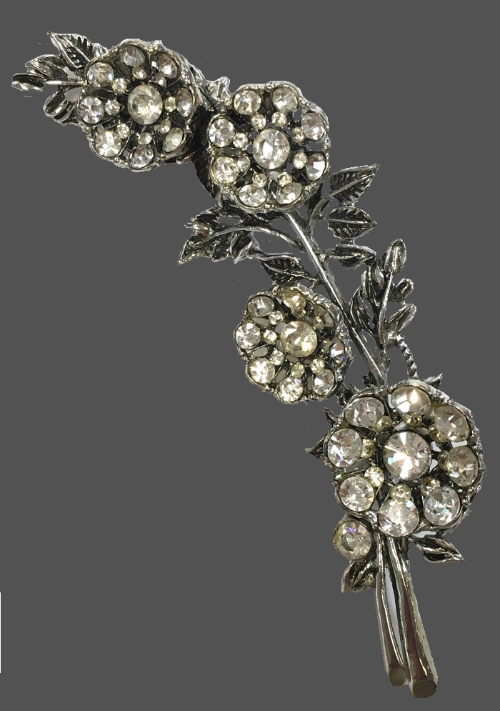 Blooming branch flower brooch, rhinestones
