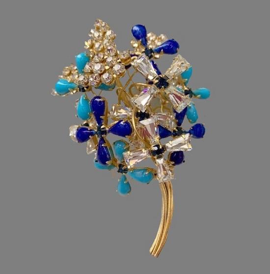 Blue flower bouquet brooch. Gold filled, art glass, rhinestones, crystals. 9 cm. 1970s