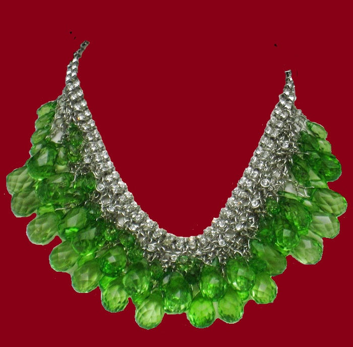 Choker Necklace Emerald Green Faceted Crystals Rhinestones