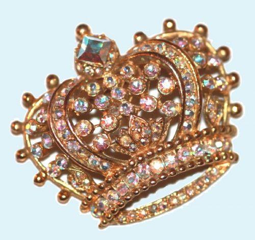 Crown brooch, aurora borealis crystals, 1940s