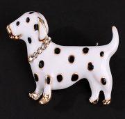 Dalmatian cute puppy. Brooch, enamel