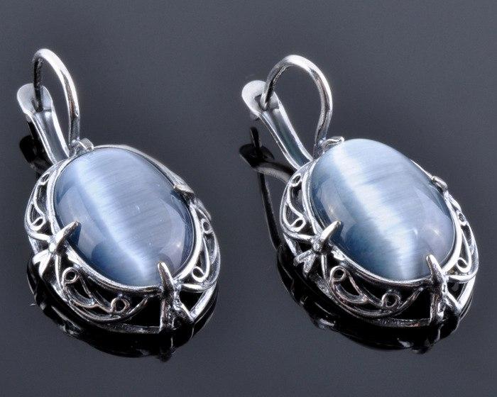 Earrings with Chatoyancy