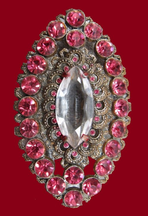 Filigree marquis rhinestone Victorian revival brooch