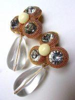 Lucite Rhinestone Drop Dangle Earrings