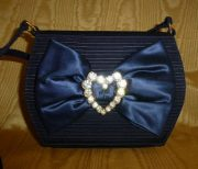 Navy Moire And Satin Fabric Evening Bag With Clear Crystal Heart