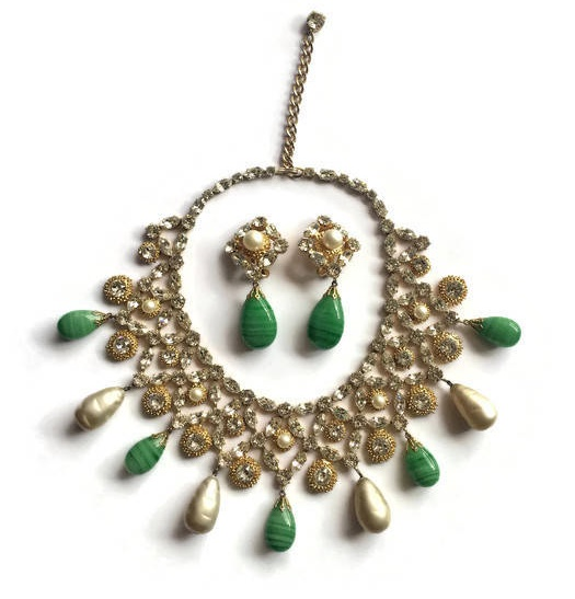 Rhinestone Bib Necklace and Earrings Set with Pearl and Malachite Drops