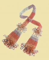Scarf with tassels, beads of colored glass. The end of the 1990s. 112 cm
